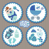 Label with elements for European newborn baby boy Royalty Free Stock Photos