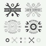 Label, emblème et logo de mécanicien de vintage Image stock