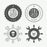 Label, emblème et logo de mécanicien de vintage illustration stock