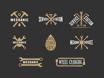 Label, emblème et logo de mécanicien de vintage illustration libre de droits