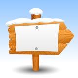 Label en bois de symbole d'icône de poteau de neige de signe Images libres de droits