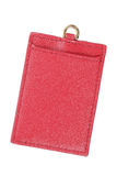 label en cuir rouge avec le trou de carte de crédit d'isolement sur le blanc Photos libres de droits