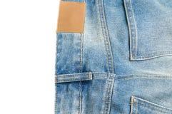 Label en cuir vide et jeans arrières de denim de poche Photos libres de droits