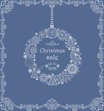Label en vente de Noël avec la guirlande décorative accrochante de vintage Photos libres de droits