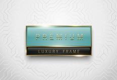Label en verre vert clair et noir de la meilleure qualité avec le cadre d'or sur le fond géométrique blanc Calibre brillant de lu Photo libre de droits