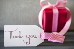 Pink Gift, Calligraphy, Text Thank You Stock Photography