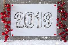 Label, Snowflakes, Red Christmas Decoration, Text 2019, Snow Stock Photography