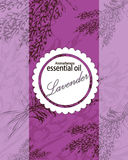 Label for essential oil of lavender Royalty Free Stock Photo