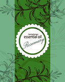 Label for essential oil of rosemary Royalty Free Stock Images