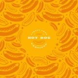 Label et cadre de hot-dog avec le modèle Illustration Stock