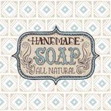 Label et modèle tirés par la main pour la barre faite main de savon Images libres de droits