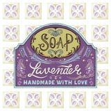 Label et modèle tirés par la main pour la barre faite main de savon Photo stock