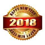 Label et timbre d'or de la bonne année 2018 Photographie stock libre de droits