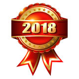 Label et timbre d'or de la bonne année 2018 Photos libres de droits