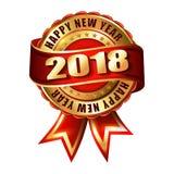 Label et timbre d'or de la bonne année 2018 Photo libre de droits