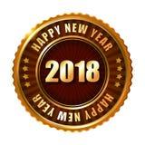 Label et timbre d'or de la bonne année 2018 Photographie stock