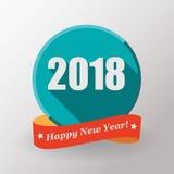 Label et timbre plats de la bonne année 2018 Photos stock