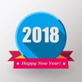 Label et timbre plats de la bonne année 2018 Image stock