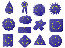 Label with eu flag. Different shapes of label with eu flag on it Royalty Free Illustration