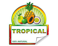 Label for exotic fruits Royalty Free Stock Photo