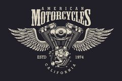 Label fait sur commande de moto de vintage illustration de vecteur
