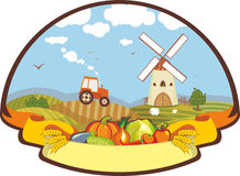 Label Farm Harvest Mill Tractor. Label with a rural life and vegetables Vector Illustration