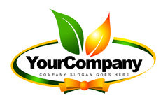 Label Feaf Logo. An illustration of a logo representing a label with orange and green leafs Royalty Free Stock Photos