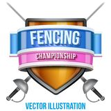 Label for fencing sport competition. Bright Stock Photos