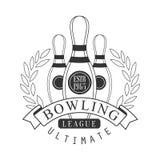 Label final de vintage de ligue de bowling Illustration noire et blanche de vecteur Photos stock