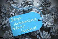 Label On Fir Cones Quote Dreaming Start Living Stock Photo