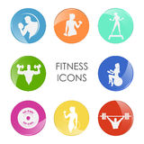 Label fitness club with the image of women and men. Vector Royalty Free Stock Photo
