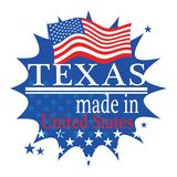Label with flag and text Made in Texas. Vector illustration Royalty Free Stock Images