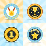 Label flat winner set Royalty Free Stock Images