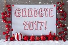 Label, flocons de neige, boules de Noël, texte au revoir 2017 Photographie stock libre de droits