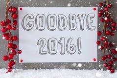 Label, flocons de neige, décoration de Noël, texte au revoir 2016 Image stock