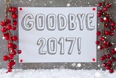Label, flocons de neige, décoration de Noël, texte au revoir 2017 Photographie stock libre de droits
