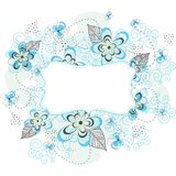 Label floral bleu de fond Photos libres de droits