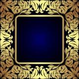 Label floral d'or de luxe sur bleu-foncé Photographie stock