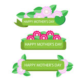 Label with flower for mother day  Royalty Free Stock Photos