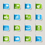 Label - Food Icons. 16 food and restaurant icons set Stock Photography