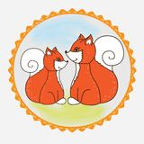 Label Fox mom and baby Stock Photography
