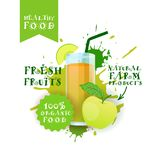 Label frais d'Apple Juice Logo Natural Food Farm Products au-dessus de fond d'éclaboussure de peinture Photographie stock
