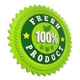 Label frais d'insigne de produit de 100% d'isolement Photographie stock libre de droits
