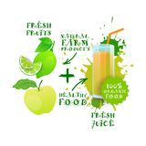 Label frais de Logo Natural Food Farm Products de chaux de Juice Healthy Cocktail Apple And Photos libres de droits