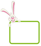 Label frame rabbit. Label frame with happy rabbit Royalty Free Stock Images