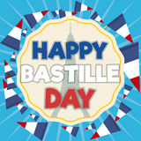 Label with French Pennants Around it for Bastille Day, Vector Illustration. Greeting label commemorating Bastille Day with Eiffel Tower silhouette inside with royalty free illustration