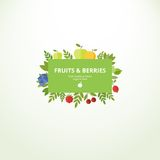 Label with fresh fruits and berries Stock Photo