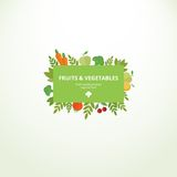 Label with fresh fruits and vegetables. Vector label or banner with fresh fruits and vegetables. Concept organic product royalty free illustration