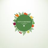 Label with fresh fruits and vegetables. Vector circle label or banner with fresh fruits and vegetables. Concept organic product vector illustration