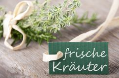 Label with frische Kr�uter on it Stock Photos